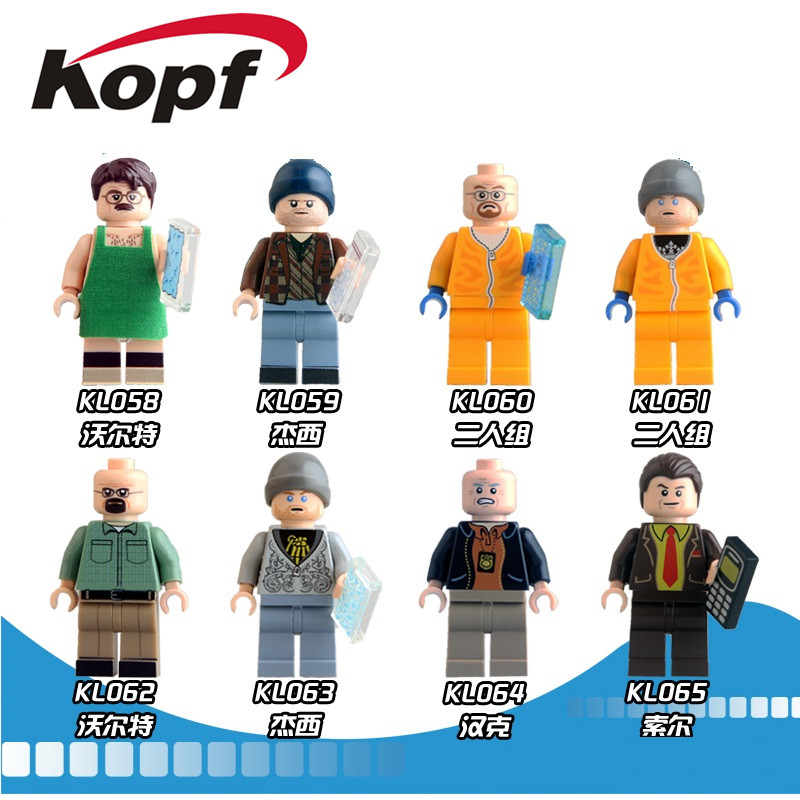 Super Heroes Breaking Bad Walter White Jesse Pinkman Hank Schrader Saul Goodman Bricks Building Blocks Children Gift Toys KL9009 building blocks super heroes back to the future doc brown and marty mcfly with skateboard wolverine toys for children gift kf197