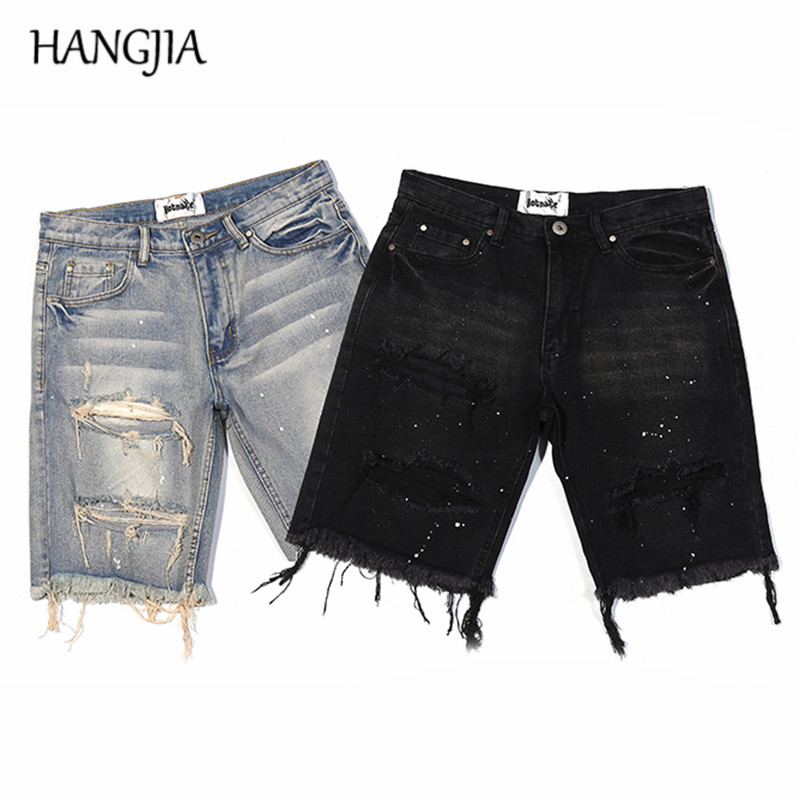 Black/blue Ripped Denim Shorts Mens Washed Destroyed Knee Hole Short Jeans Streetwear Male Distressed Hip Hop Jeans Shorts