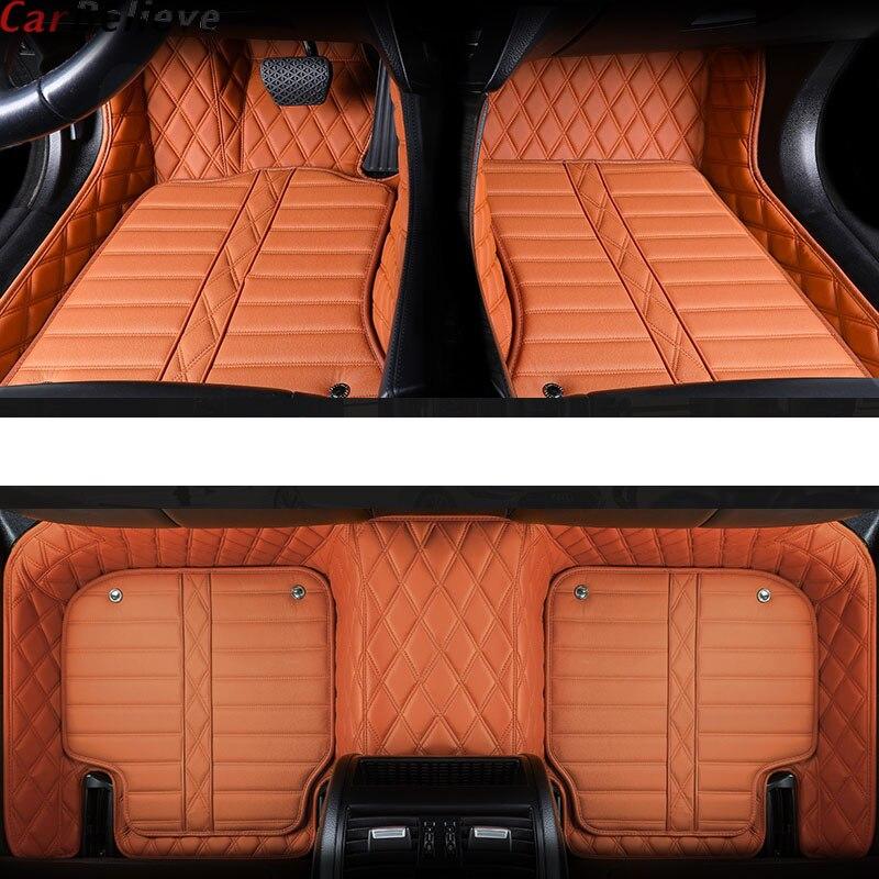Voiture Croire En Cuir Véritable tapis de sol de voiture Pour bmw g30 e90 x3 f25 e83 x5 f15 f31 f11 f34 f10 x1 f4 accessoires tapis imperméable