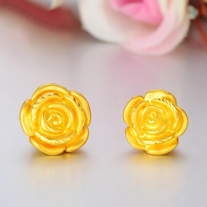 Beautiful 3D Craft Rose Bead Pendant in Real 24k Yellow Gold 12mm H (1pcs)