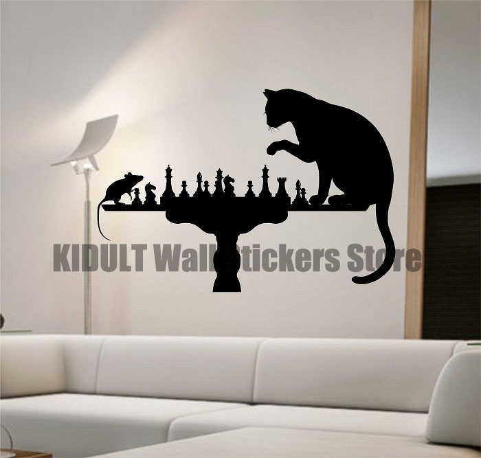 Tom And Jerry Wall Stickers Creative Personality Study Chess Chess Pattern  Interior Flat Wall Decor Vinyl Part 52