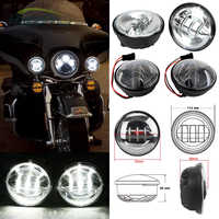 """2 Pieces 4.5"""" LED Auxiliary Spot Fog Passing Light Lamp for Harley Touring Road King"""