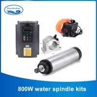 800 W Watergekoelde Cnc Spindel Kit 0.8KW Spindel Motor + 1.5KW Frequentie Vfd Inverter + 65 Mm Klem + 13 Pcs ER11 Collet Voor Cnc Motor