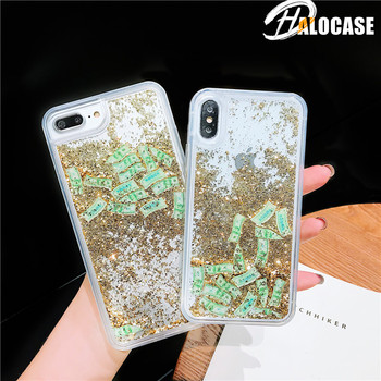 Glitter Liquid Sand Dollar Money Case For iPhone 11 Pro MAX 6 6S 7 8 Plus Dynamic Liquid Phone Cover For iPhone X XS XR XS MAX quicksand capinha case for iphone 7 8 6s plus makeup cosmetics dynamic liquid hard back cover for iphone x xr xs max capa ipone