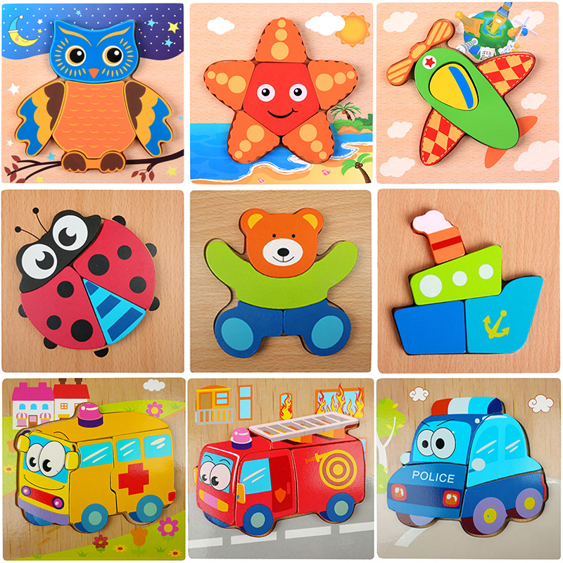 Baby 3D Wooden Puzzle Jigsaw Board High Quality Beech Wooden Toys For Children Cartoon Animal Puzzle Kids Educational Toys