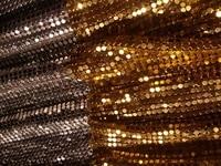 YY DIY 24cmX24cm Metal Mesh Fabric Metallic Cloth Metal Sequin Sequined Fabric Curtain Square GOLDEN SILVER