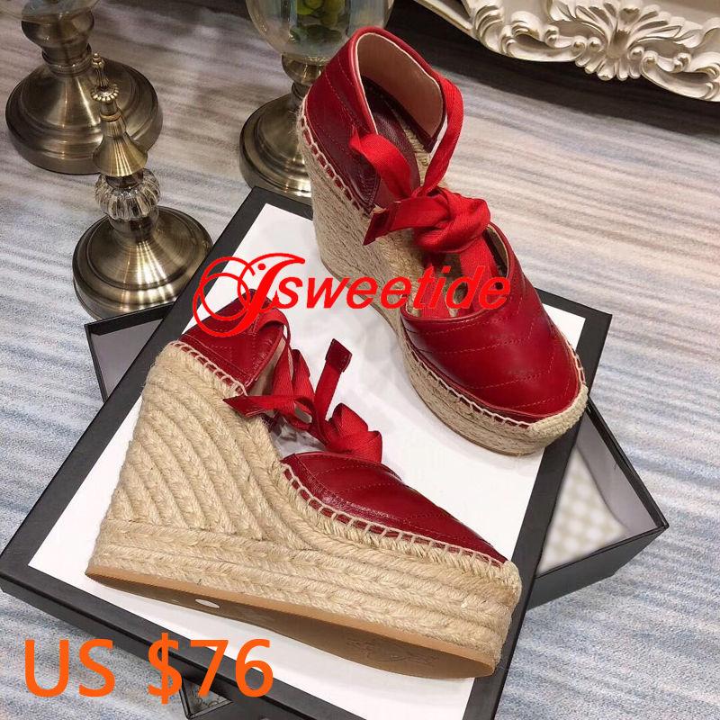 높은 품질 어 부 신발 짚 직조 솔 정품 가죽로 퍼 럭셔리 브랜드 캐주얼 라운드 발가락 플랫폼 샌들-에서하이힐부터 신발 의  그룹 1