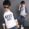 2017 spring boys long sleeve striped t shirts children gray letter printing O-Neck big kids casual cotton sweatshirt tops FH326