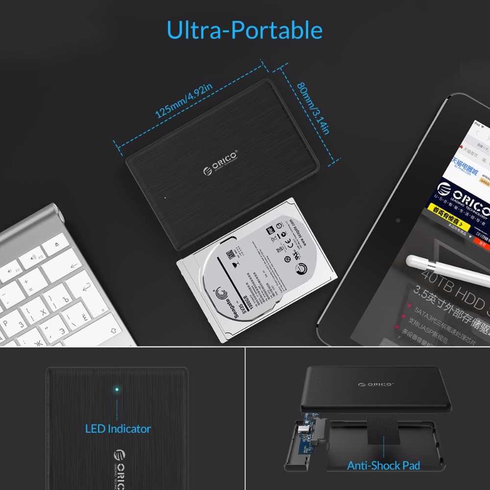 Carcasa de alta velocidad ORICO 2,5 pulgadas USB3.0 tipo A tipo C Gen1 disco duro externo carcasa para soporte SSD UASP SATA3.0