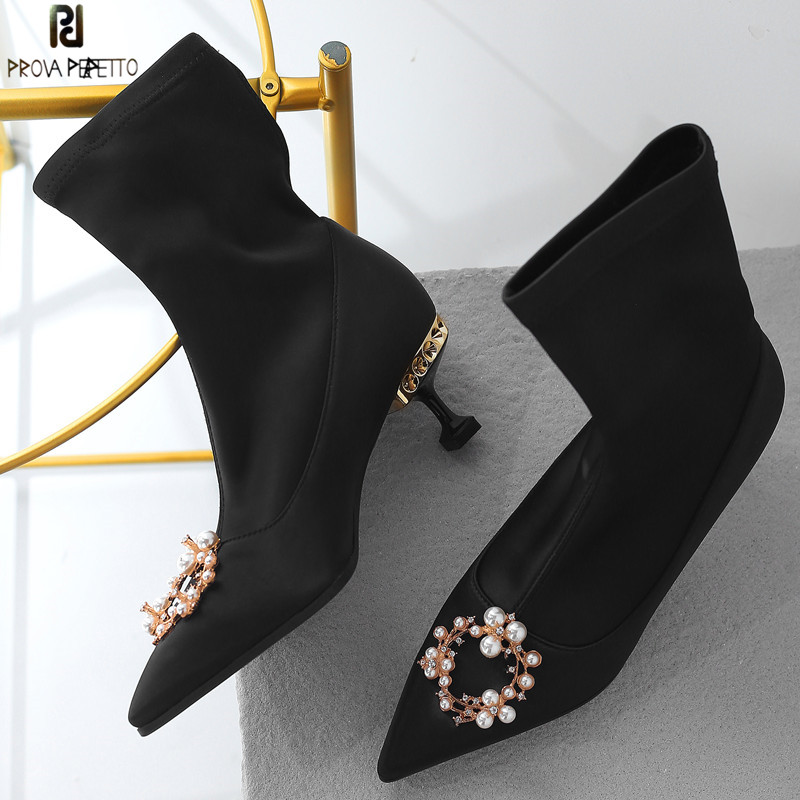 Prova Perfetto 2018 Ladies Stretch Boots Fashion Rhinestone Pointed Toe Sock Boots Women Crystal Heel Shoes Woman Ankle Boots цена 2017