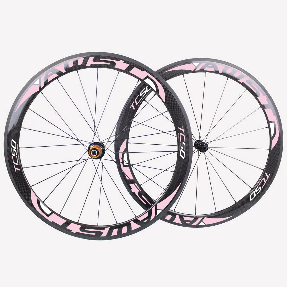 Carbon fiber bicycle clincher wheels 23mm wide U-shape wheels 50mm road bike wheelset with chosen hub+brake pads+quick release t700 powerway r13 hub ozuz 88mm carbon wheels road bike bicycle clincher with alloy nipple 3k carbon fiber wheel light wheelset