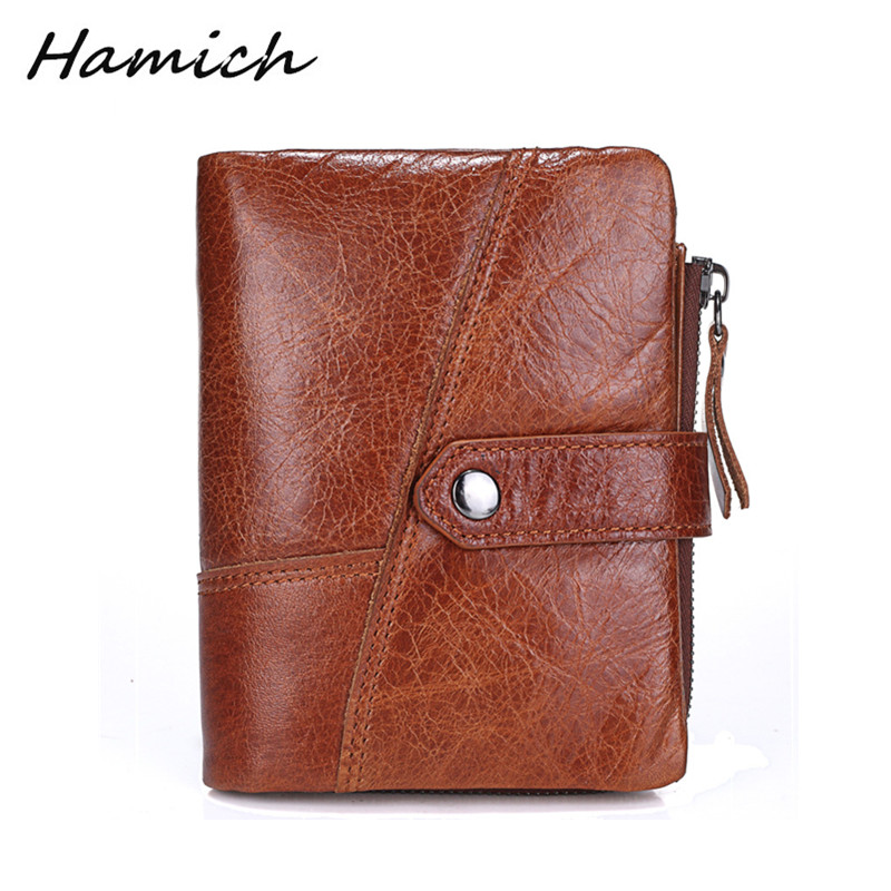 HAMICH Oil Wax Cowhide Genuine Leather Men's wallet High Capacity Male Leather Purse with Hasp Card Holder Vintage Fashion Retro