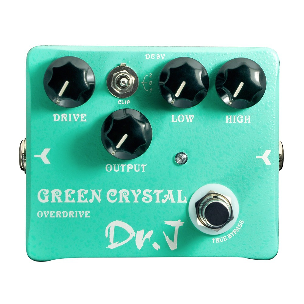 Dr. J Green Crystal Hand Made Overdrive Electric Guitar Effect Pedal Overdrive efeito True Bypass D50 D-50 overdrive guitar effect pedal true bypass with 1590b green case electric guitar stompbox pedals od1 kits