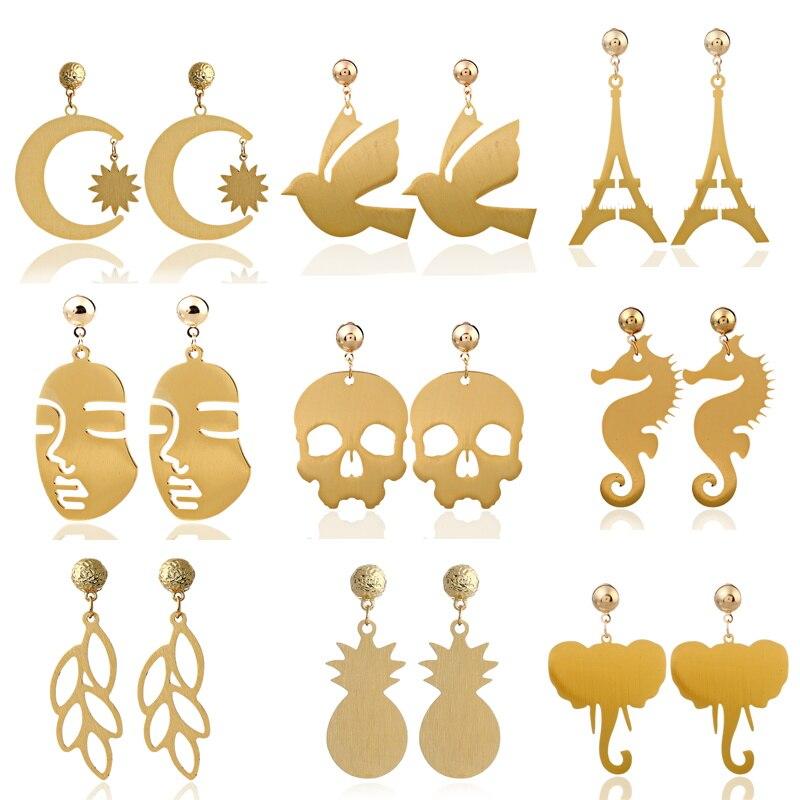 Gold Color Metal Sun Moon Earring Animal Bird Elephant Earring Women Brincos Ladies Jewelry Earing Dangle Drop Earring Hanging