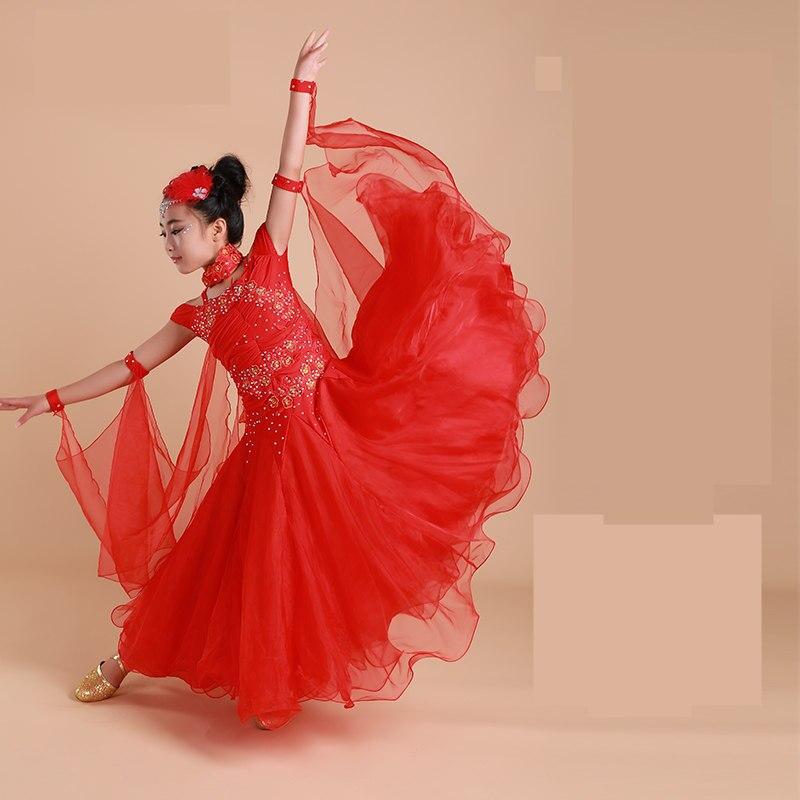 2017 Children Standard Ballroom Dance Competition Dresses Waltz/Tango Dresses Kids For Sale Girls Jazz Dance Costumes