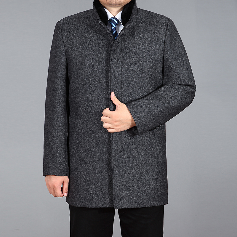 2020 High Quality Wool Coat Men Winter Woolen Coat Real Rabbit Fur Long Coat Thick Wool Blend Jacket Mens Overcoat Palto M-4XL