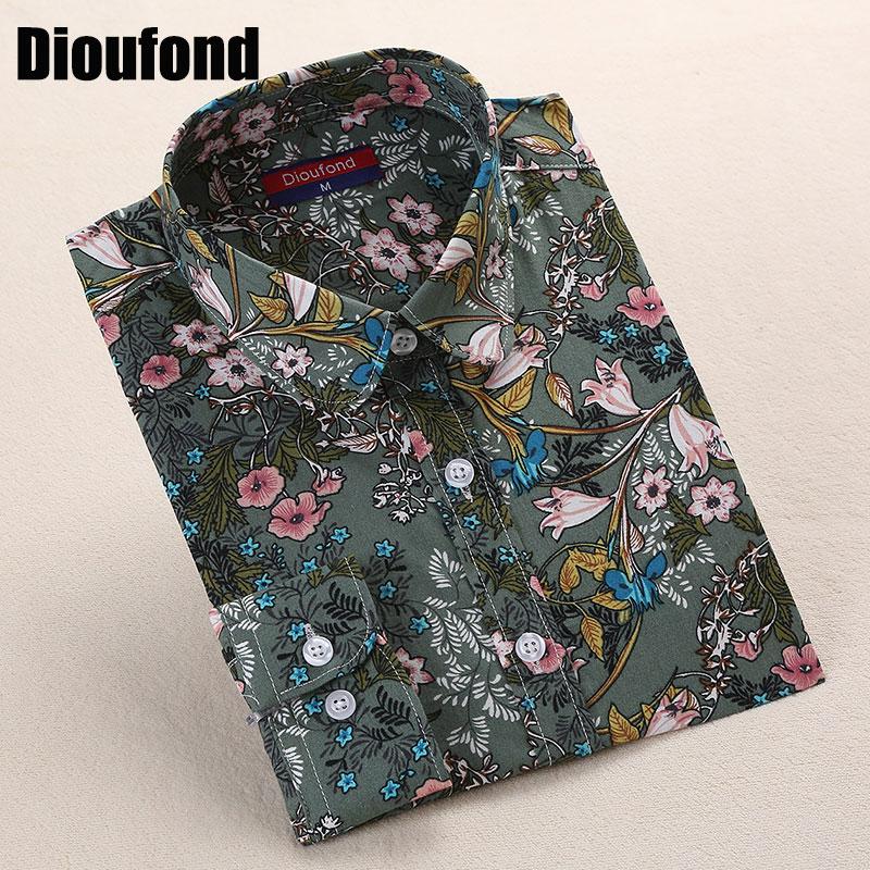 Dioufond Bohemia Kadınlar Bluzlar Uzun Kollu Gömlek Kadın Yaz Turn - Bayan Giyimi - Fotoğraf 2