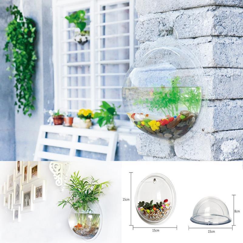 mini transparent acrylic fish tank round hanging aquarium indoor microlandschaft vessel home office gallery decoration fish aquarium office
