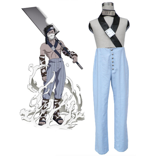 Naruto Momochi Zabuza Cosplay Costume with Shoes Headwear Full Suit
