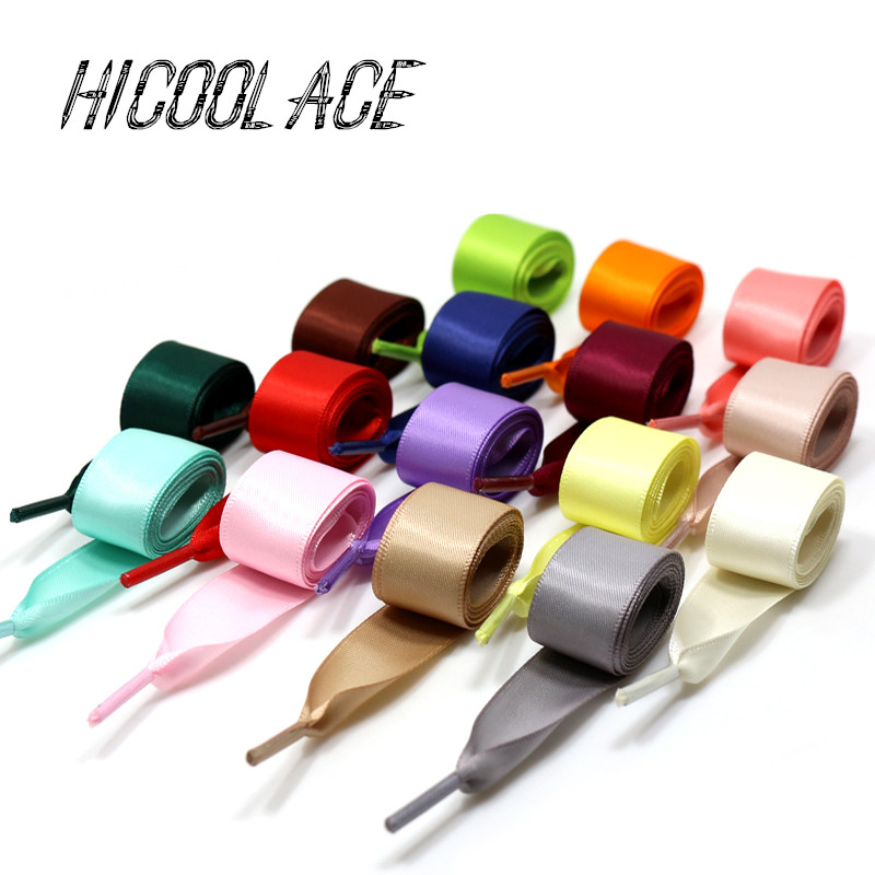 2018 Bestselling 2CM Width Flat Satin Shoe Laces Ribbon Shoelaces White Shoes Shoelaces Shoe Laces for Sneaker Sport Shoes brown satin ribbon shoelace 2cm width