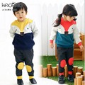 Retail 2017 del estilo del Invierno ropa Infantil Espesar conjuntos de Ropa Zorro 2 unids (de La Manga Completa + Pantalones) Los Niños Unisex ropa Fijada