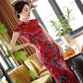 Sexy Charming Retro Dark Red Satin Silk Cap Sleeve Chinese Traditional Cheongsam Evening Dress Full-Length High-slit Qipao QP31