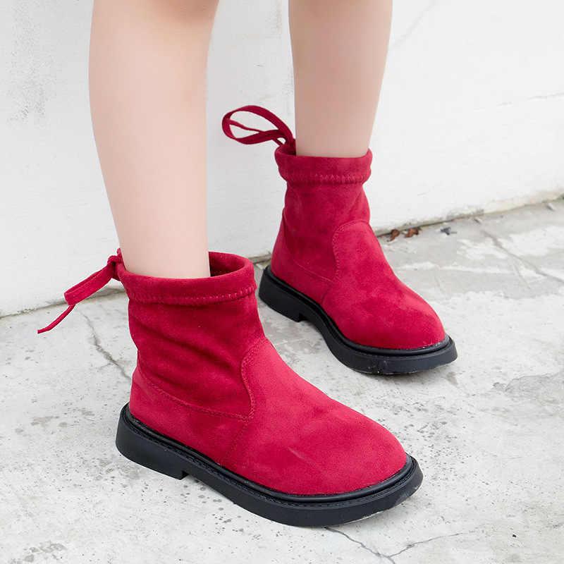 ... Дети девочки осень-зима школа плюс бархат красные, черные теплые валенки  для девочек ботильоны ... 9e01592faf7