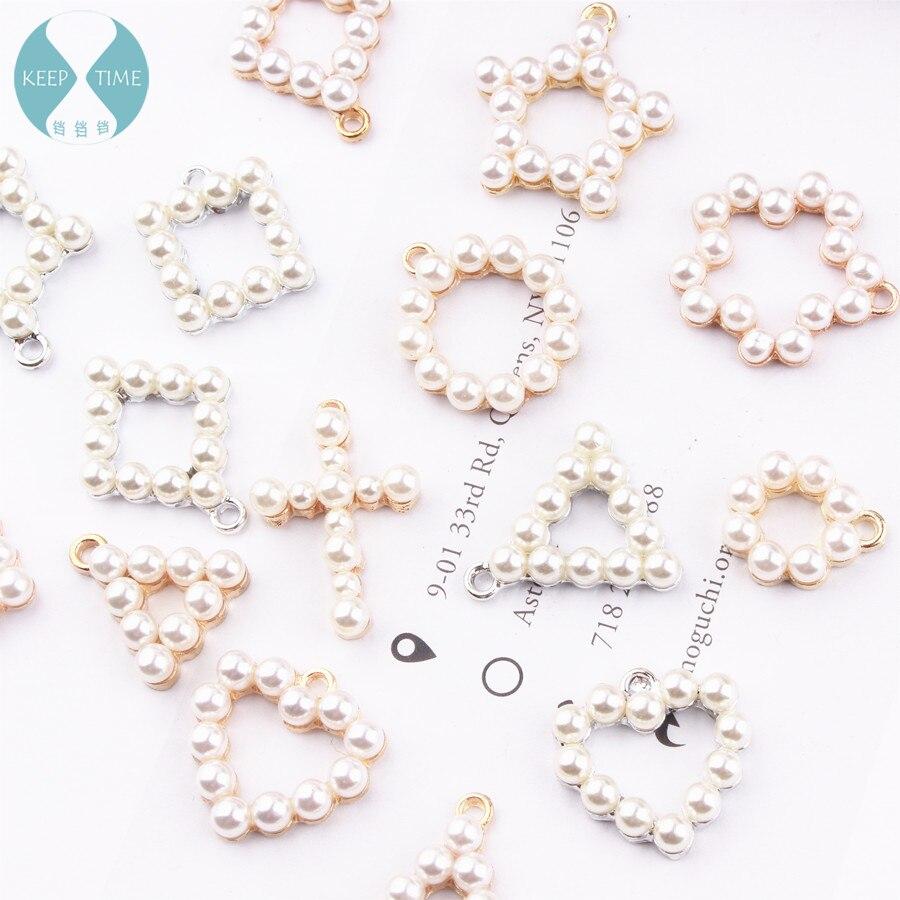 Pearl Pendant Earrings Square Circle Triangle Love Cross Earrings Material DIY Geometric Jewelry Accessories