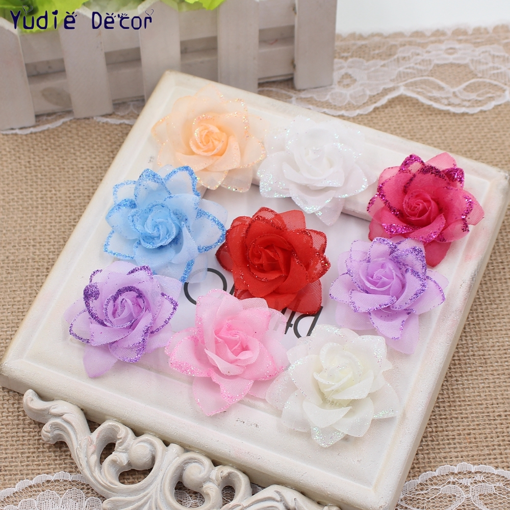 100 Pcs/lot Artificianl  powder fabric roses Fowers For Wedding Home Christmas party Decoration Craft Handmade DIY Supplies