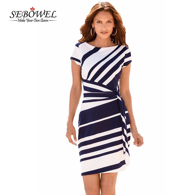 SEBOWEL Summer Elegant Women Black White Striped Office Work Dress Casual Ladies Slim Sheath Bodycon Short Party Dress Vestidos