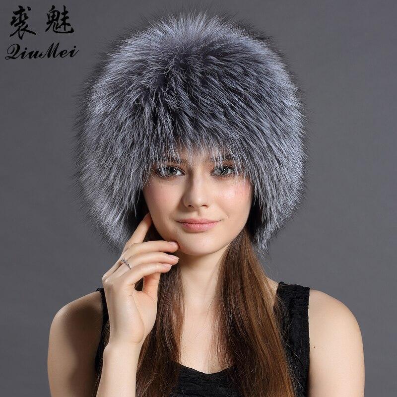 QiuMei Women Real Fox Fur Hats Winter Elastic Luxury Fur Caps Knitted Lined Genuine Raccoon Fox