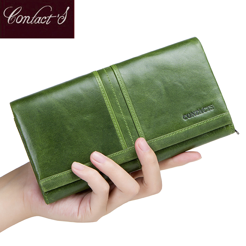 2018 New Brand Wallet Female Long Clutch Card Holders With Cellphone Pocket Women Wallets Genuine Leather