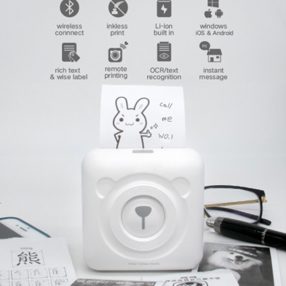 1 stücke Mini Drahtlose POS Thermische Bild Foto Drucker Tragbare Thermische Bluetooth Printe für Android IOS Handy