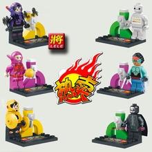 LELE 6Pcs Building Blocks Super Heroes Minifigures Justice League Big Hero 6 Bot Fight Bricks Action Mini Figure Kids Toys