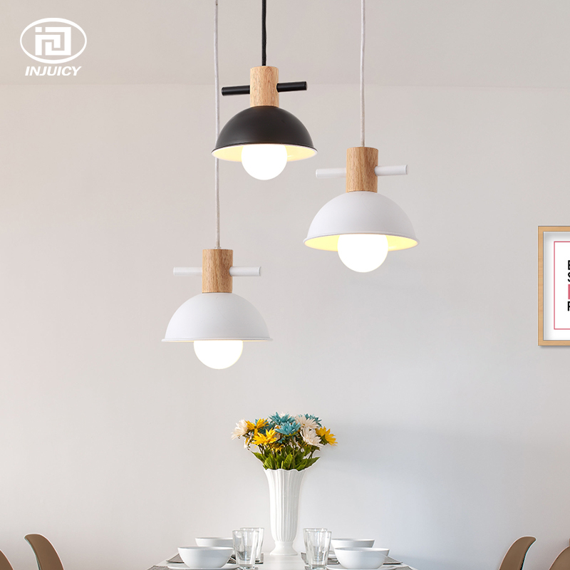 цены Nordic Industrial Iron Pendant Lamp Creative Modern Wooden Pendant Light Restaurant Aisle Dining Room Bedroom Cafe Bar Lighting