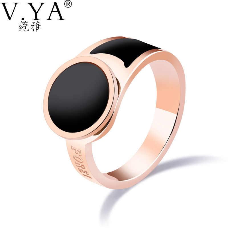 V. YA Forever אהבת טבעות יום נישואים שרף שחור תכשיטי האופנה נשים נירוסטה טבעות אצבע קסמי נשים Dropship