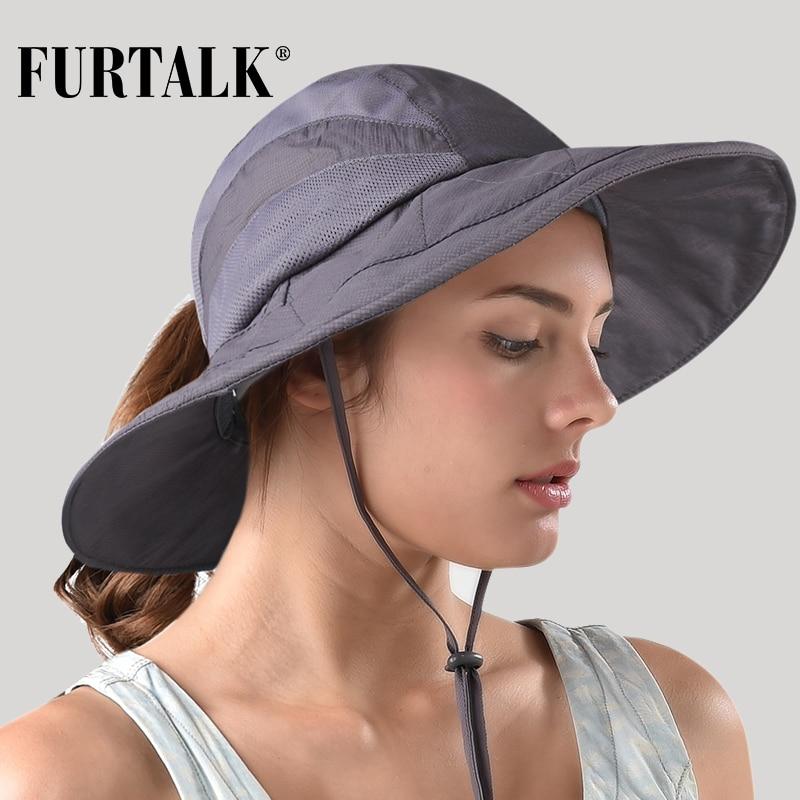 c352cfa0a FURTALK Safari Sun Hats for Women Summer Wide Brim UV UPF Ponytail ...