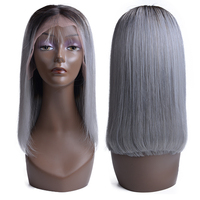 Lace Front Human Hair Wigs Short Gray Bob Human Hair Wigs Straight Human Hair Wigs For Black Women Pre Plucked Hairline