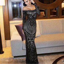 NEW Sexy Slash Neck Off Shoulder Sequined Party Dress Floor Length Full Sleeved Bodycon Black Maxi Dress Evening Gown