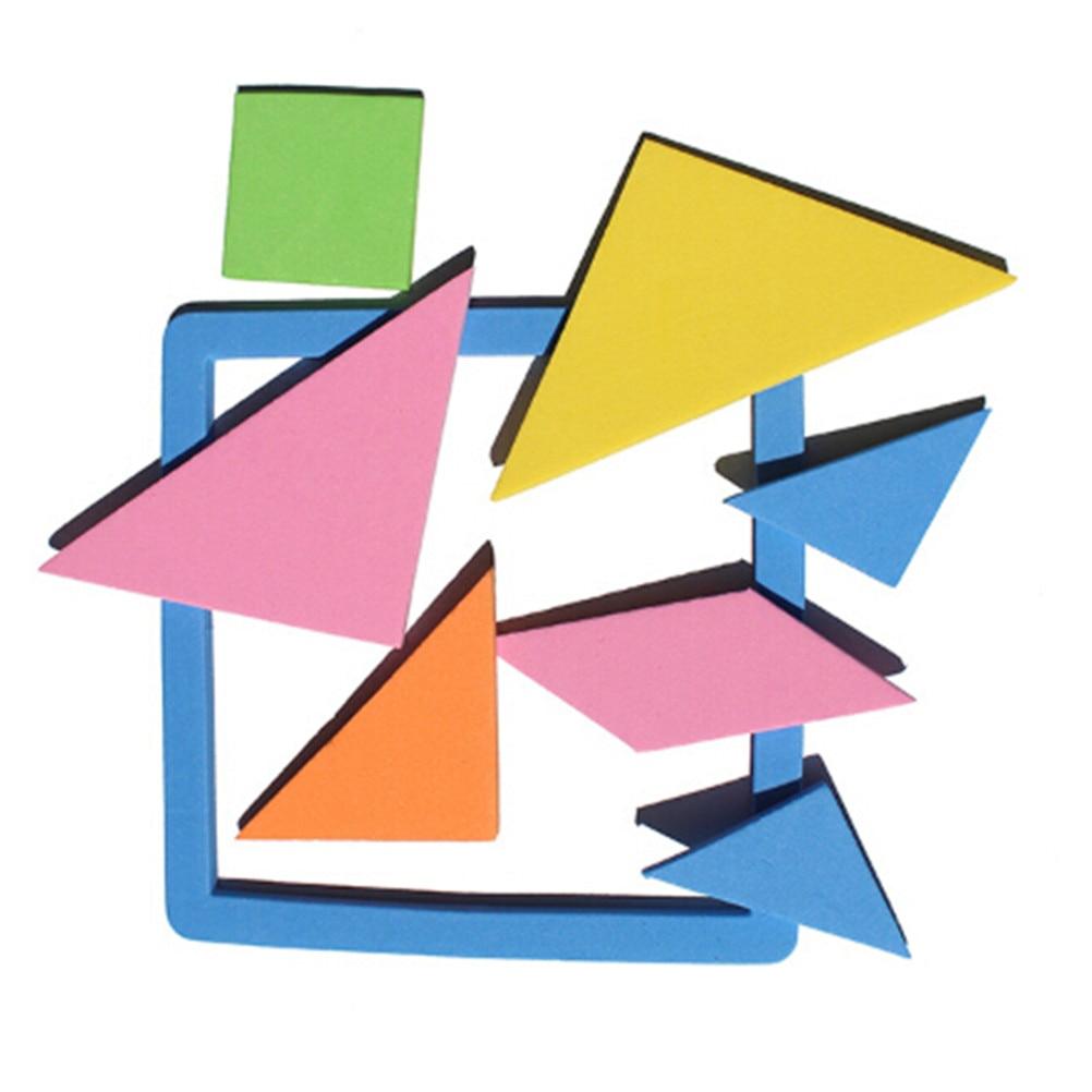 1set Rainbow Color EVA Tangram Jigsaw DIY Foam Puzzle  Geometric Shape Kids Early Learning Educational Brain Training Toys