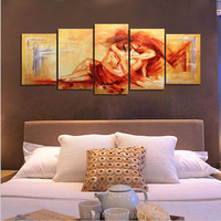 Hand Painted 5 Piece Yellow Modern Abstract Oil Paintings On Canvas Wall Art Sexy Naked Lover Nude Pictures For Home Decor
