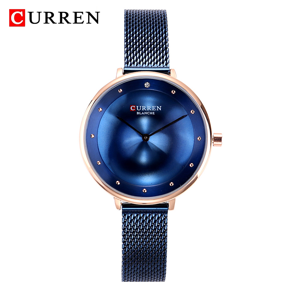 CURREN Wrist Watches Women Blue Fashion Stainless Steel Quartz Watches Women's Clock Relogio Feminino Luxury Ladies Watch 9029