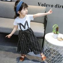 Fashion Baby Girl Clothes Set Letter Print Short Sleeve T-shirt+Stripe Wide Leg Casual Long Pants 2019 Toddler  Kids Clothes letter print wide leg pants