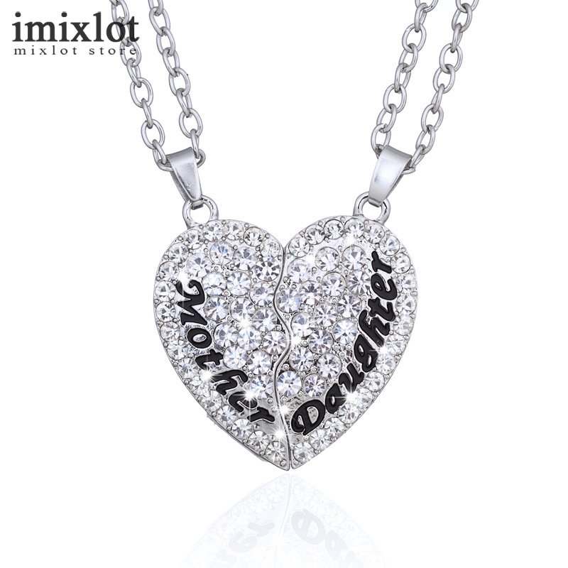 Imixlot 2pcsset fashion full rhinestone heart puzzle pendant imixlot 2pcsset fashion full rhinestone heart puzzle pendant necklace mother daughter jewelry for family gifts in pendant necklaces from jewelry aloadofball Images