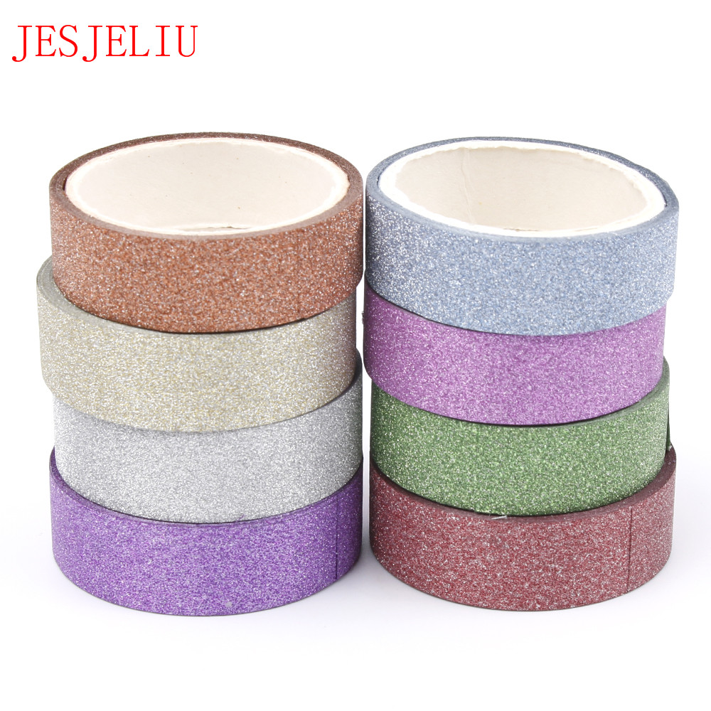 15mm*5m Glitter Washi Tape Set Japanese Stationery Scrapbooking Decorative Tapes Adhesive Tape Kawai Adesiva Decor Free Shipping