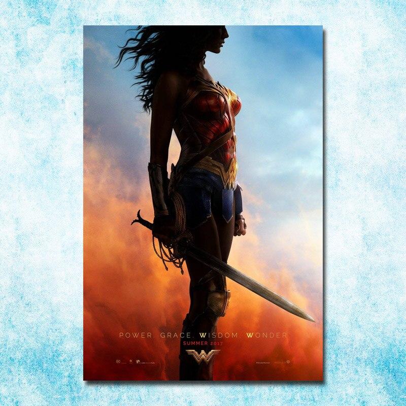 Wonder Woman DC 2017 Film Yeni Gal Gadot İncəsənət İpək Kətan - Ev dekoru - Fotoqrafiya 1