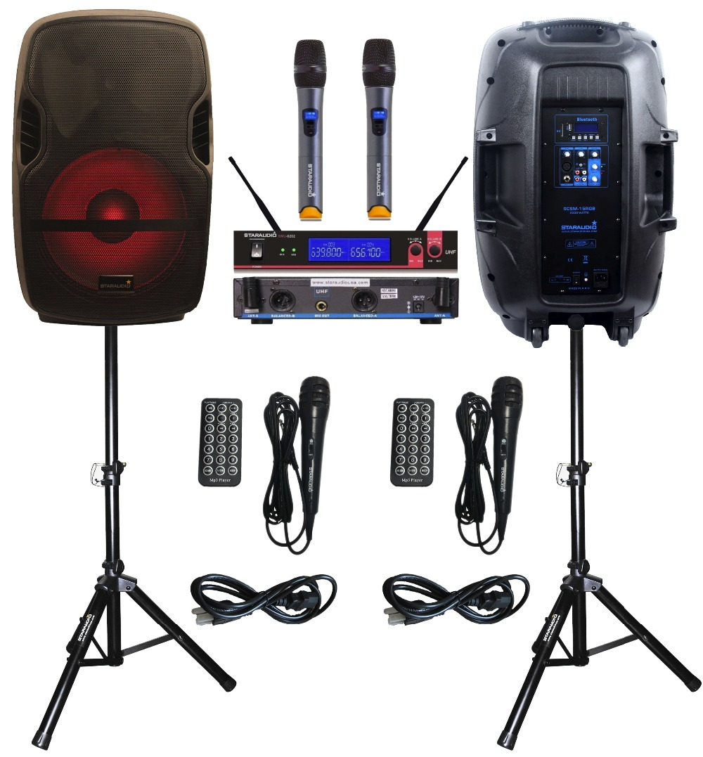STARAUDIO Pair SCSM-15RGB 2000W 15 PA DJ KTV Stage Karaoke Powered Active FM BT SD USB Speakers W/ LED Light Stand 2CH UHF MIC