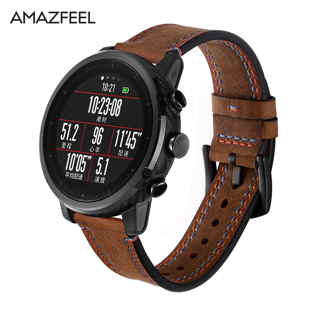 Leather Strap for Xiaomi Huami Amazfit PACE Stratos Smart Watch Bracelet for Xiaomi Amazfit Band Strap Genuine Leather Belt 22mm
