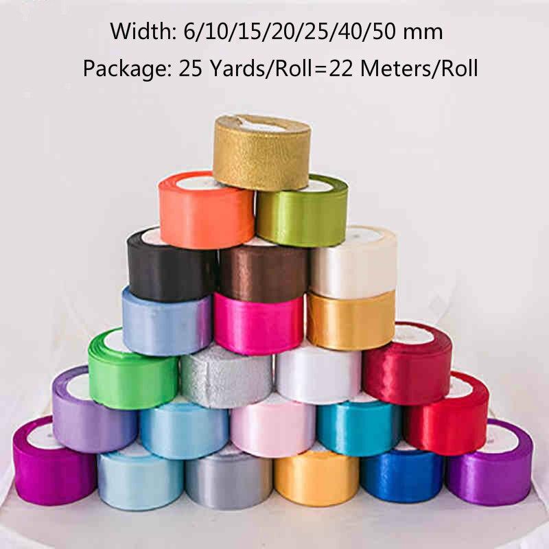 (25 ярдов/рулон) одно лицо атласная лента для ручной работы Лук Craft Декор Свадебная вечеринка Декор упаковочная лента для подарков (6/10/15/20/25/40/50 мм)