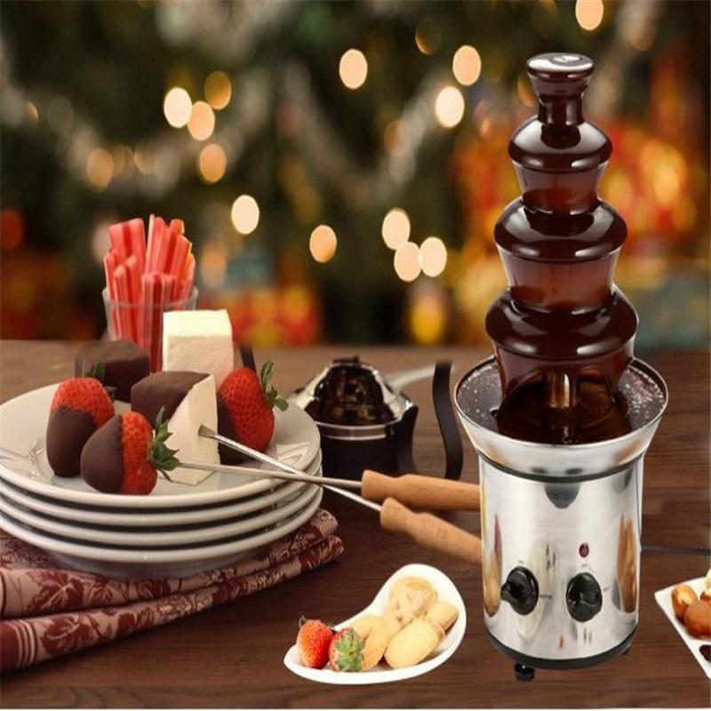4 tiers 46 cm Fantanstic In Acciaio Inox fontana di Cioccolato macchina 110 v 220 v Fonduta Evento Mostra di Cerimonia Nuziale Festa di Compleanno